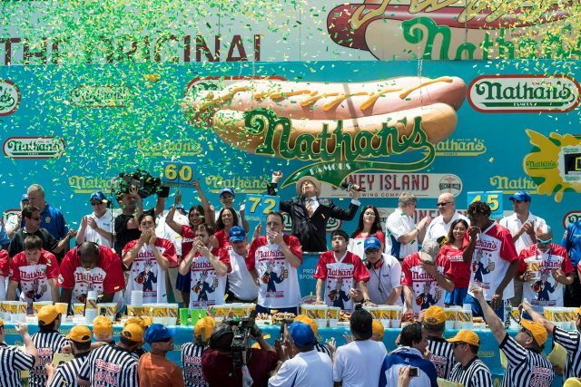 Joey Chestnut and Miki Sudo will defend their hot-dog-eating titles at Nathans on July 4