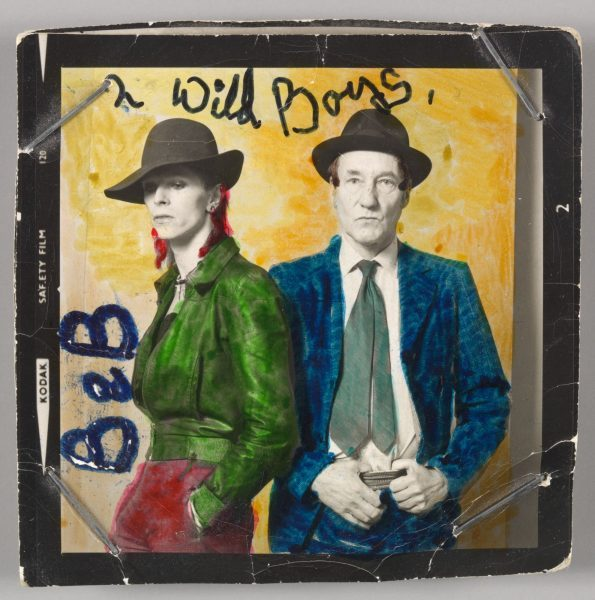 David Bowie with William Burroughs, February 1974. Photograph by Terry O'Neill with color by David Bowie. Courtesy of The David Bowie Archive. Image © Victoria and Albert Museum