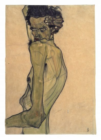 Egon Schiele, Self-Portrait with Arm Twisted above Head, Watercolor and charcoal on paper, 1910 (private collection)