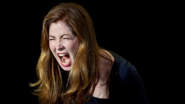 Betty 1 (Dana Delany) lets it all out in Collective Rage (photo by Joan Marcus)