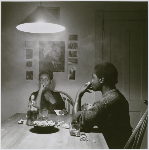 "Carrie Mae Weems, ""Untitled (Man Smoking / Malcolm X),"" from the Kitchen Table series, gelatin silver photograph, 1990 (© Carrie Mae Weems / photo by Sarah DeSantis, Brooklyn Museum)"