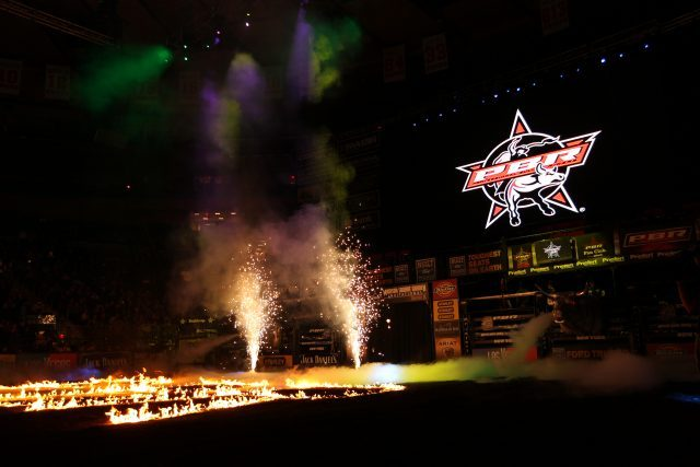 Fire and Pyro in the opening during the first round of the New York City Built Ford Tough series PBR. Photo by Andy Watson
