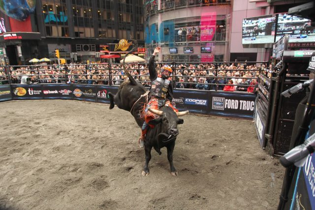 Austin Meier on Robinson's Mac-Nett's El Presidente at NYC Times Square final five showdown PBR. Photo by Andy Watson.