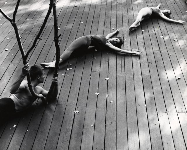 Anna Halprin. The Branch. 1957. Performed on the Halprin family's Dance Deck, Kentfield, California, 1957. Performers, from left: A. A. Leath, Anna Halprin, and Simone Forti. Photo: Warner Jepson. Courtesy of the Estate of Warner Jepson