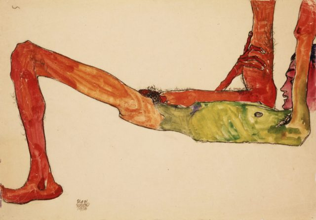 "Egon Schiele Reclining Male Nude. 1910. Watercolor and black crayon on paper. Signed and dated, lower left. 12 3/8"" x 16 3/4"" (31.4 x 42.5 cm). Kallir D. 663. Private collection."