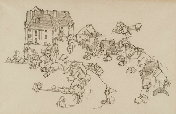 "Egon Schiele Houses in Krumau. 1917. Charcoal on paper. Inscription, dated February 19, 1921, by Karl Grünwald, verso. 11 1/2"" x 17 3/4"" (29.2 x 45.1 cm). Kallir D. 2136. Private collection."