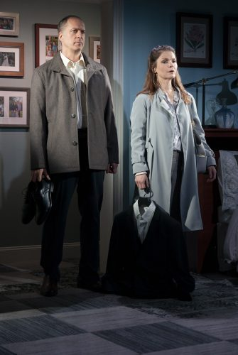 Doug (Daniel Jenkins) and Charlotte (Kathryn Erbe) face a traumatic situation in Something Clean (photo by Joan Marcus)