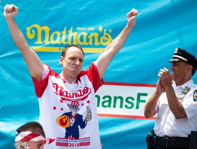 Joey Chestnut will defend his hot-dog-eating record on July 4 at Nathan's (photo courtesy Nathan's Famous)