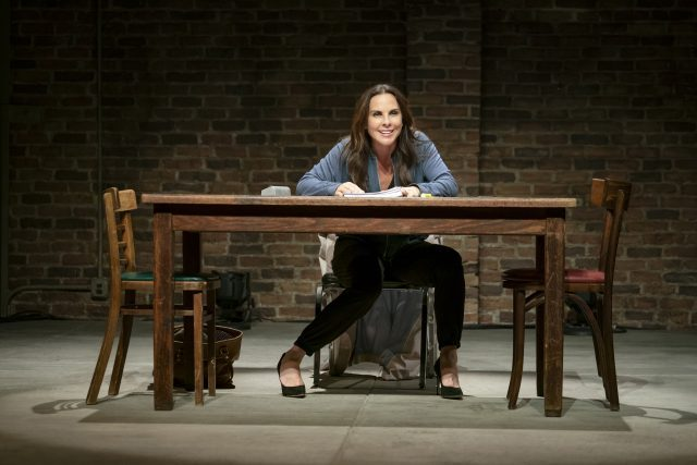 Kate del Castillo plays an actress reading a hard-hitting script in the way she spoke (photo by Joan Marcus)