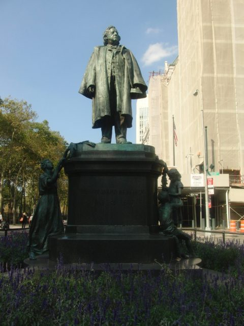 Longtime Brooklyn minister Henry Ward Beecher is honored with statue in Columbus Park (photo by twi-ny/mdr)