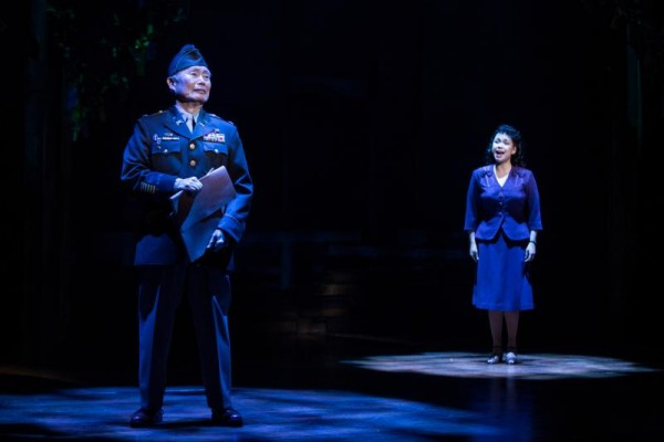 Sam Kimura (George Takei) remembers where it all went wrong with his sister (Lea Salonga) (photo by Matthew Murphy)
