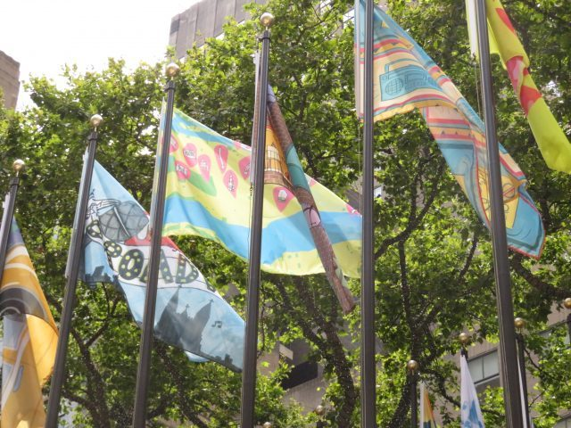 The Flag Project continues at Rockefeller Center through August 16 (photo by twi-ny/mdr)